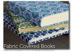 Boeken kaften met stof en mod podge fabric.