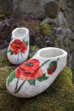 Felted Slippers- Poppy Flowers