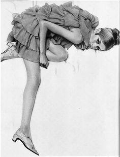 Twiggy . UK Vogue . 1966 Photo: Helmut Newton