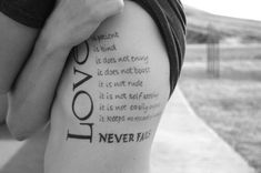 """love is..."" scripture. huge tattoo, but love it!"