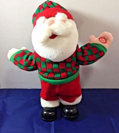 "Santa Singing Tapping Feet to Shout 13"" Checked Sweater Christmas Plush"