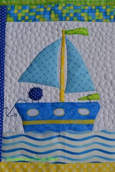 Toy boat block, in: A Boy Story quilt at Seams Sew Together.  Pattern by Anni Downs.