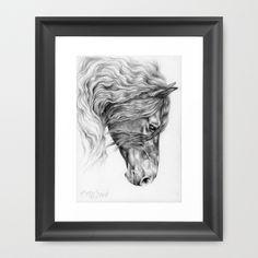 FRIESIAN HORSE Framed Art Print by Canisart   #art #horse #equineart #artprint #friesian #black #home #design #decor #canisartstudio