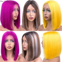 Brazilian Purple Bob Lace Front Wigs Straight Human Hair Wigs Yellow T2/4/Grey Ombre Short Bob Wigs For Black Women Remy Hair  Price: 99.26 & FREE Shipping  #hashtag2 Ombre Short Bob, Short Bob Wigs, Purple Bob, Bob Lace Front Wigs, Grey Ombre, Wigs For Black Women, Remy Hair, Human Hair Wigs, Lace Wigs