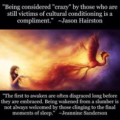 """Being considered """"crazy"""" by those who are still victims of cultural conditioning is a compliment - Jason Hariston. """"The first to awaken are often disgraced long before they are embraced Being wakened from a slumber is not always welcomed by those clinging to the final moments of sleep. - Jeannine Sanderson"""
