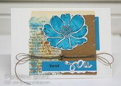 StampingMathilda: Card using Darkroom Door Carved Flowers Rubber Stamp Set.