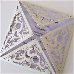 This square laser cut wedding invitation has a coloured insert and is finisehd with crystals. Wedding Invitation Trends, Creative Wedding Invitations, Laser Cut Wedding Invitations, Wedding Stationary, Lilac Wedding, Our Wedding, Dream Wedding, Wedding Ideas, Wedding Details