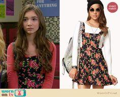 Riley's floral cross-back dress on Girl Meets World.  Outfit Details: http://wornontv.net/34792/ #GirlMeetsWorld