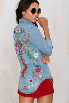 Amp up your denim duds with the Spell Love Child Denim Shirt for a sweet touch of embroidery.