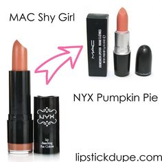 NYX Pumpkin Pie dupe MAC Shy Girl  #dupe #dupes #macdupes www.lipstickdupe.com
