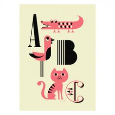 The coolest pink ABC poster by famed Swedish illustrator Ingela P Arrhenius for OMM Design would be a great addition to a room or playroom . Abc Poster, Poster Prints, Art Print, Unique Poster, Kids Room Wallpaper, Digital Illustration, Vintage Posters, Typography, Retro
