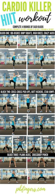 HIIT Cardio Workout – Fitness is life, fitness is BAE! ♥ Tap the pin now to di… HIIT Cardio Workout Fitness Workouts, Hiit Workout At Home, At Home Workouts, Fitness Tips, Health Fitness, Hiit Cardio Exercises, Cardio Hitt Workout, Circuit Workouts, Shape Fitness