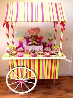 Aurelia Chair Cover Hire - Candy Cart, love this candy stripe. Candy Buffet Tables, Dessert Buffet, Dessert Tables, Circus Food, Sweet Carts, Sweet Buffet, Candy Drinks, Doll House Crafts, Sweet Trees