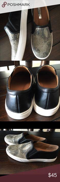 Halogen Girls slip ons sz 4.5 Gray snakeskin slip-ons, looks new worn once Halogen Shoes Sneakers