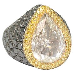 de Grisogono 10.85 Carat Pear-Cut Diamond Gold Ring | From a unique collection of vintage dome rings at https://www.1stdibs.com/jewelry/rings/dome-rings/