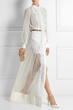 Alessandra Rich. Chiffon and lace bodysuit and maxi skirt set.