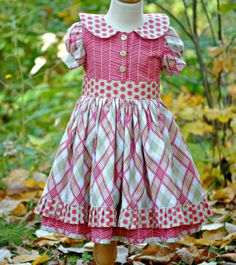 Girl's Vintage-Inspired Dress, Girl Dresses, Toddler Dress, Valentines Day Dress, Easter Dress, Girl Clothing, Size 2T 3T 4T 5 6 7 8 9 10