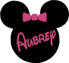Minnie Mouse Ears Name PERSONALIZED 24x22  Vinyl Wall Lettering Words Quotes Decals Art Custom. $29.95, via Etsy.