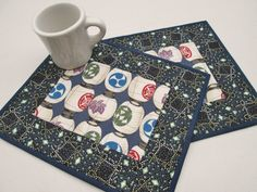 Quilted Mug Rugs  Japanese Lanterns  Set of 2 by MoonDanceTextiles, $20.00