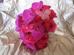 Pink Bouquet with orchids and roses by TinyCarmen