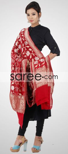 47b7710718 Maroon and Red Banarasi Georgette Dupatta with Turkish Motifs and Zari-By  Asopalav
