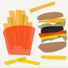 illustration #hamburger #cheese #potato #mcdonalds