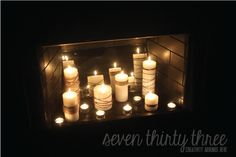 Small Changes, Big Impact by www.733blog.com Candles in the fireplace - Great for year round