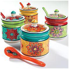 Hand Painted Ceramic Jar & Spoon