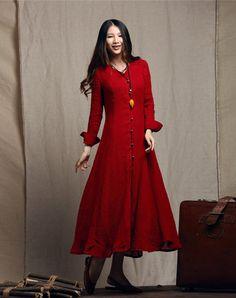 Maxi Linen Dress, Ruffle Dress, Red Dress, Long Bridesmaid Dress, Wedding Dress, Evening Dress, Formal Dress, Cocktail Dress,…