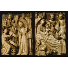 Two English alabaster reliefs from a series of the Joys of the Virgin, 15th century, Nottingham. Each 14 inches in height.  Sold at auction by Sotheby's January 2011.n08712lot5xx5ken