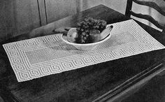 Free crochet pattern for the Greek Key Runner by Free Vintage Crochet.