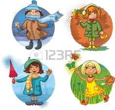 Kids Graphics, Pinterest Images, Worksheets For Kids, Watercolor Cards, Embroidery Art, Kids Cards, Four Seasons, Illustration, Little Girls