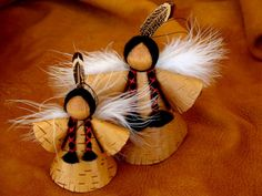 Hand Made Birch Bark  Christmas Angels by BINESHIIS on Etsy, $29.99