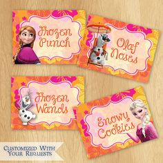 Disney Frozen Food Labels - Custom Summer Frozen Birthday Printable Party Treat Tent Labels Place Cards on Etsy, $5.99