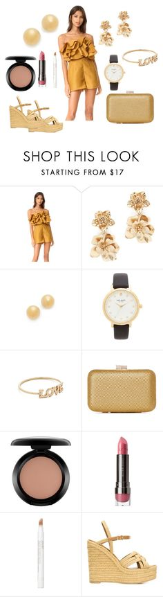 """""""Golden Gleam"""" by hillarymaguire ❤ liked on Polyvore featuring Keepsake the Label, Oscar de la Renta, Kate Spade, ZoÃ« Chicco, MAC Cosmetics, LORAC, Jouer, Yves Saint Laurent, fabulous and fashionset"""