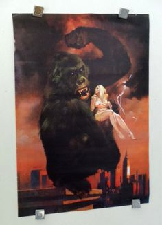Rare vintage original 1977 King Kong poster holding sexy blonde girl by supervator. 1000's more rare vintage movie monster and DC Comics and Marvel comic book superhero posters and artwork at SUPERVATOR.COM