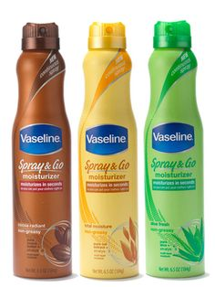 """Vaseline: Spray & Go Moisturizer / """".a line of quick, convenient, continuous-spray lotions. They moisturize deeply and absorb in seconds to leave skin instantly soft, not greasy or sticky. Beauty Tips For Teens, Beauty Tips For Skin, Beauty Skin, Skin Care Tips, Beauty Makeup, Makeup Tips, Spray Moisturizer, Best Moisturizer, Younger Skin"""