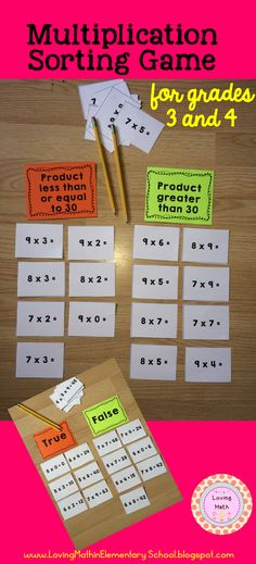 Practice Multiplication Facts with this fun sorting game. Click for more sorting options.