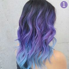 Hairstyles & Beauty #haircolor Beauty: Fantasy Unicorn Purple Violet Red Cherry Pink yellow Bright Hair Colour Color Coloured Colored Fire Style curls haircut lilac lavender short long mermaid blue g(Dyed Hair Lavender)