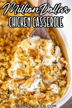 Million Dollar Chicken Casserole - This is our go-to chicken casserole! SO easy to make and tastes like a million bucks! Chicken, cream cheese, cottage cheese, sour cream, onion, garlic, cream of chicken soup, topped with crushed Ritz crackers and butter. Can make this casserole in advance and refrigerate or freeze for later. #chicken #casserole #chickencasserole #ritzcrackers