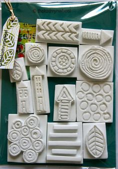 Foam stamps, hand carved