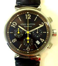 LOUIS VUITTON TAMBOUR AUTO CHRONOGRAPH / BROWN / 41.5MM / Q11216 / BOX & PAPERS #LouisVuitton