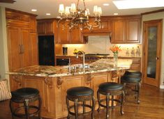 natural maple cabinets with granite - Google Search