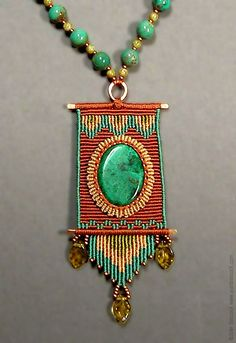 Fiber art jewelry by Joan Babcock Gypsy Jewelry, Macrame Jewelry, Fabric Jewelry, Gemstone Jewelry, Bead Embroidery Tutorial, Beaded Embroidery, Fiber Art Jewelry, Jewelry Art, Custom Jewelry Design