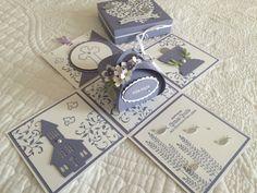 Explosionsbox zur Konfirmation Communion, Exploding Boxes, Marianne Design, Pop Up Cards, Baby Cards, Christening, Invitation Cards, Holi, Cardmaking