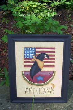 Primitive Americana Handpainted Framed Canvas by Primgal