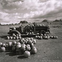 Vintage car in field with pumpkins Vintage Fall, Vintage Halloween, Firefighter Halloween, Photographer Portfolio, Halloween Photos, Vintage Photographs, Fire Trucks, Black And White Photography, Fine Art Photography