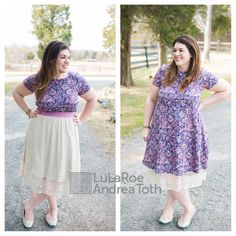 Beautiful LuLaRoe Floral Carly Dress with a Lace Lola Skirt layered over and under #ootd #tieks