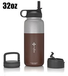 ddfe902d6a Amazon.com : the flow Stainless Steel Water Bottle Double Walled/Vacuum  Insulated - BPA/Toxin Free - Wide Mouth with Straw Lid, Carabiner Lid and  Flip Lid, ...