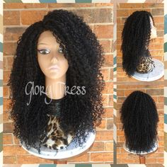 On Long Kinky Curly Lace Front Wig Curly Black Wig Big Afro Curly Wig... ($99) ❤ liked on Polyvore featuring beauty products, haircare, hair styling tools, bath & beauty, grey, hair care and wigs